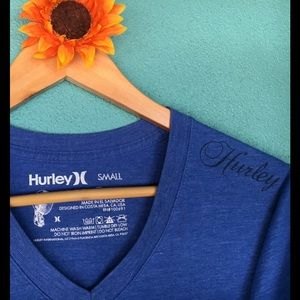 Blue Hurley V-neck tee